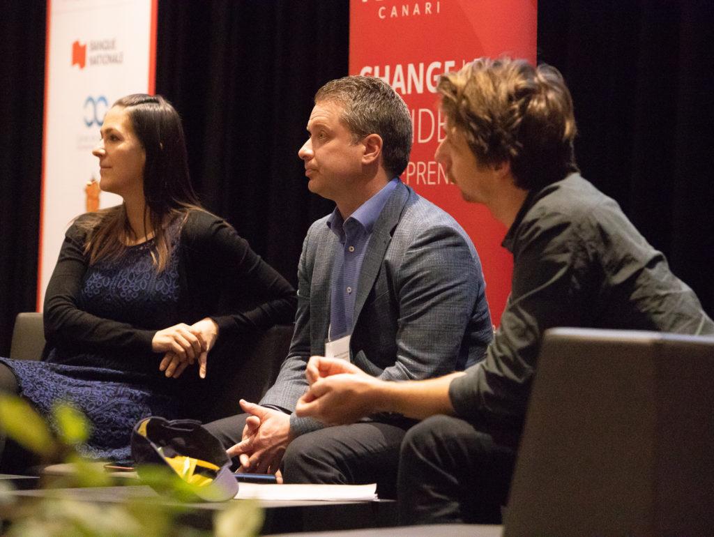 Martin Deschêne, Marc-Antoine Legault et Marie-Ève Poirier du Groupe Legault